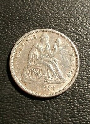 1883 Seated Liberty Dime, XF-AU Details, Love Token.
