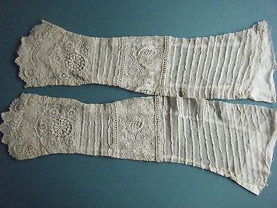 Pair Antique Victorian Heavy Detailed Floral Lace Edwardian 1/2 Sleeves/cuffs