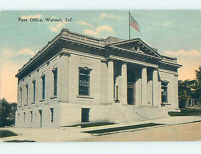 Unused Divided Back POST OFFICE SCENE Wabash Indiana IN hs1442