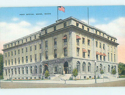 Unused Linen POST OFFICE SCENE Boise Idaho ID hs1167