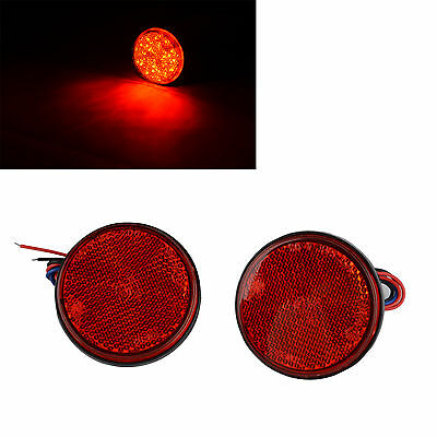 2x New Red 24LED Motorcycle Round Reflector Tail Brake Turn Signal Light Lamp