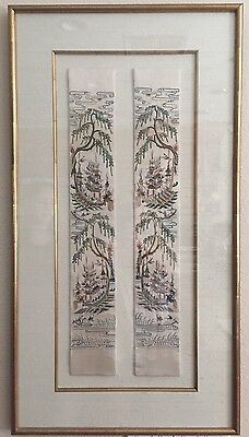 Chinese 2-Panel Silk Embroidery Forbidden Blind Stitch Men Scenes Detail EXCLNT