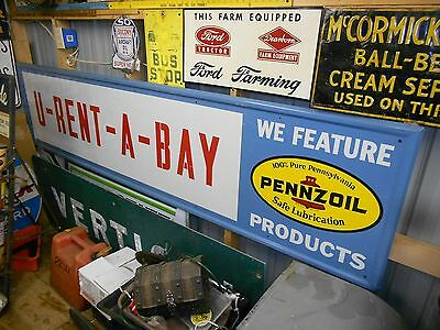 Vintage & Original PENNZOIL Advertising Sign~Nice Metal Gas & Oil Private Label