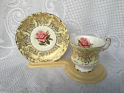 Paragon Yellow/ Gold with Pink Flower Tea Cup & Matching Saucer (831)