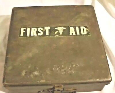 Vintage Metal First Aid Kit Box ~ Old Military ~ Heavy Metal ~ NO CONTENTS
