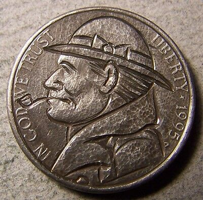 """Hobo Nickel, Engraved, Carved ,Scrimshaw,Coin Art , """"  High Country Rancher ,.."""""""