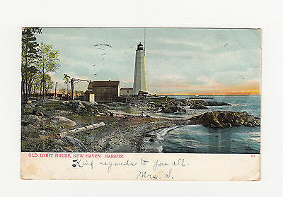 vintage used postcard [1907] // Lighthouse, New Haven Harbor // Connecticut