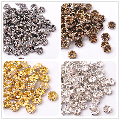 GOLD & SILVER, WAVY Czech Crystal Rhinestone Rondelle Spacer Beads 6MM 8MM 10MM