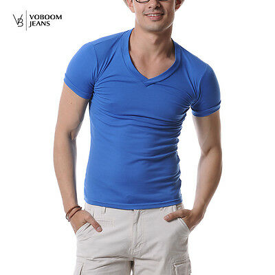 New Men's V Neck Tee Shirt Slim Fit Short Sleeve Solid Casual T-Shirt 10 Colors