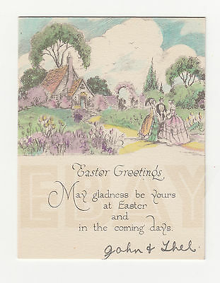 Art Deco [c. 1930] // Easter Greeting Card // vintage [inscribed]