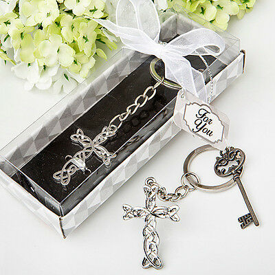 60 Delicate Intertwined Metal Cross Key Chain  - Religious Favor