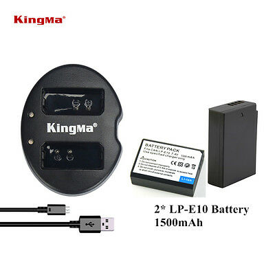 2 Pack LP-E10 Battery / Charger for Canon Rebel T6 T5 T3 EOS 1100D 1200D 1300D