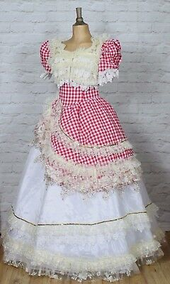 Theatre Victorian Edwardian Style Gown Dress Costume Wedding Stage UK 12-14