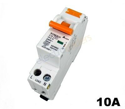 Safety Switch Circuit Breaker Combination RCBO Single Module 10 Amp 6kA Rated