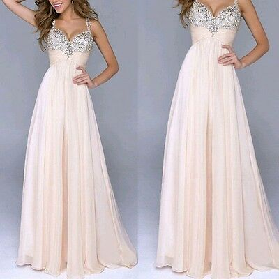 AU Womens Long Maxi Chiffon Dresses Cocktail Party Formal Evening Gown Dress