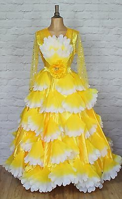 Theatre Flamenco Dress Costume Carnival Dance Swing Floral Full Skirt Stage UK16