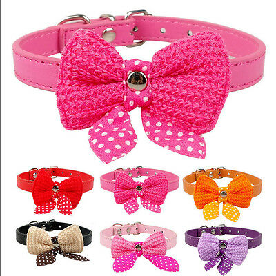 Adjustable Bowknot PU Leather Dog Puppy Pet Cat Leash Collars Necklace Collar