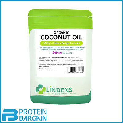 Lindens Organic Coconut Oil 1000mg 90 Rapid Release Softgel Caps (exp 2/19)