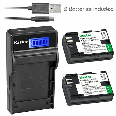 LPE6 Battery&SLIM LCD Charger for Canon XC10 EOS 6D,7D,7D Mark II,60D, 60Da, 70D