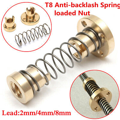 T8 Anti-backlash Spring Loaded Nut For CNC 2mm/4mm/8mm Threaded Rod Lead Screw
