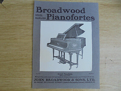 1903 ad,broadwood steel barless pianofortes, louis xvi, john broadwood & sons,