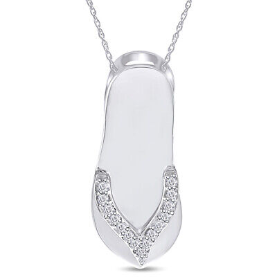 "Mother's Day 14K White Gold Over Natural Diamond Flip-Flop Pendant With 18/""Chain"