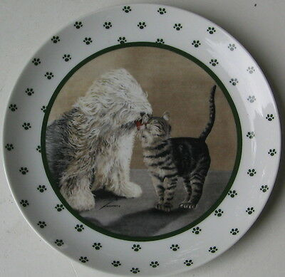 Vintage Old English Sheepdog And Cat Collectors Plate