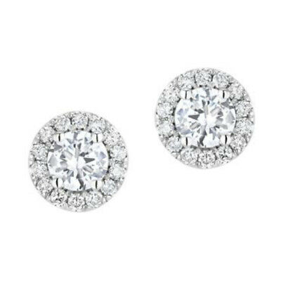 1 ct Round Cut Real Natural Diamond 14k White Gold Halo Stud Earrings