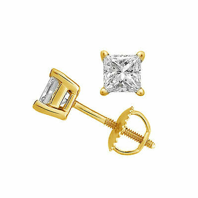 .50Ct Square Princess Cut Diamonds In 14K Solid Yellow Gold Studs Earrings