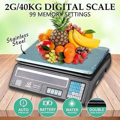 40kg Digital Scale Electronic Price Adapter upto Computing Weight Shop Market UK