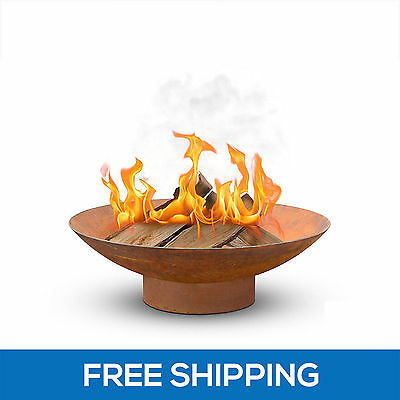 80cm Rusted Fire Pit Outdoor Fireplace Open Patio Heater Garden Plant Bowl