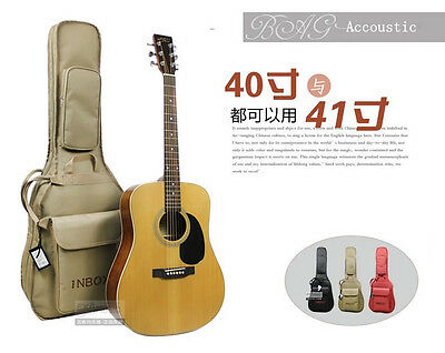 """Inbox 41"""" inches Acoustic Guitar Gig Bag Soft Gig Cases Double Straps Free Picks"""