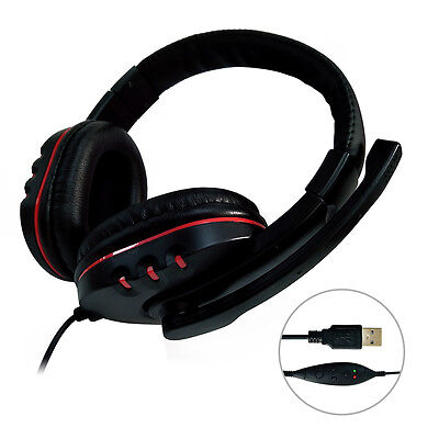 USB Surround Stereo Gaming Headset Headband Headphone with Mic For Computer PS4^