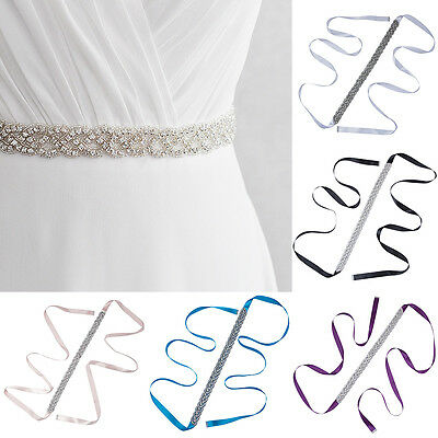 Girl Elastic Waist Belt Bridal Wedding Bridesmaid Sash Crystal Rhinestone Ribbon