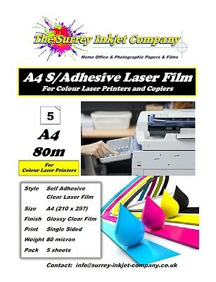 A4 Clear Glossy Laser Printable Self Adhesive Sticker Label Film 5 Sheets