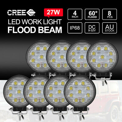 2x 27W CREE Round LED Work Light Off Road 4x4 Truck Boat 12V24V FLOOD Lamps