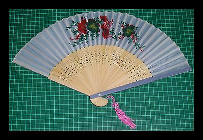 Superb 1960's Vintage Fan With Tassle - Showing Beautiful Flowers - Ornate Work