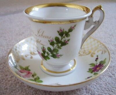 Antique KPM Dresden German porcelain cabinet cup and saucer