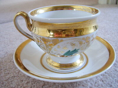 Antique KPM Dresden German porcelain cup and saucer