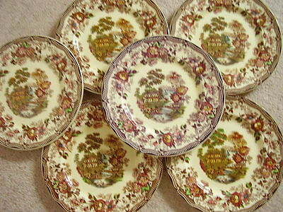 Clarice Cliff Royal Staffordshire England porcelain plate TONQUIN,set of 6