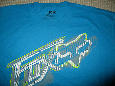 New Fox Motocross Mens Blue T Shirt Large - Genuine
