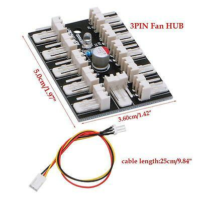3-Pin PWM 10-Way Fan Hub PC CPU Host Case Water Cooling Splitter Adapter Quality