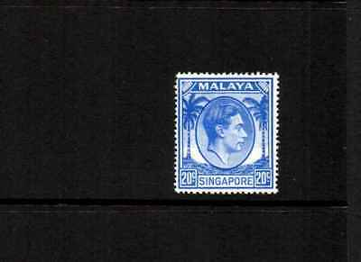 SINGAPORE KGVI 1948 – BLUE 20c DEFINITIVE, MOUNTED MINT #A0601