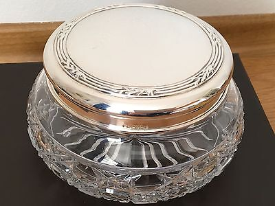 Carr's Hallmarked 2000 Sterling Silver And Cut Glass Large Dressing Table Bowl