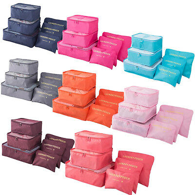 6pc Waterproof Travel Organizer Pouch Packing Cube Clothes Storage Bags Luggage