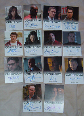 Continuum set of 14 series 1 Autograph Cards Magda Apanowicz Erik Knudsen Victor