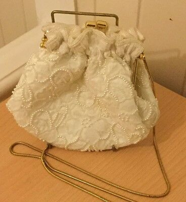Gorgeous Handmade Pearl Bag Prom Wedding Evening Clutch Handbag Purse Small
