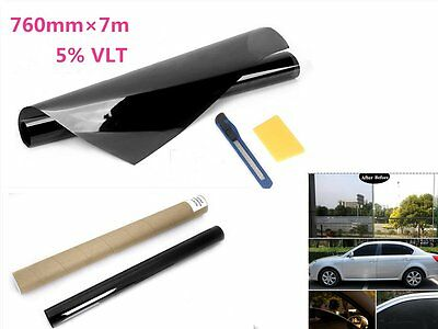Window Tint Film 5% VLT Very Black 760mmX7m Roll For Car House Office Privacy AU