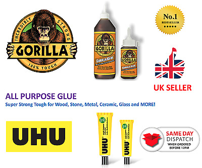 Gorilla / UHU Glue All Purpose Super Strong Tough Wood Stone Metal Ceramic Glass