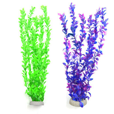 2Pcs Plastic Grass Plant Aquarium Fish Tank Decor Water Ornament w Ceramic Base